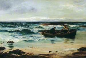 Fishermen Landing Catch on the Shore