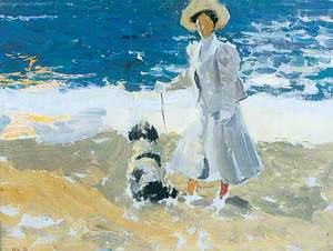 A Lady and a Dog on the Beach