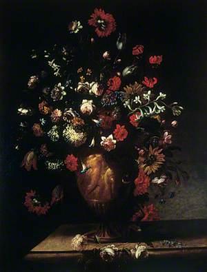 Flowers in a Sculptured Vase