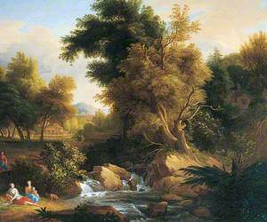 Wooded Landscape with Trees and Figures