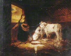 A Girl with Two Calves