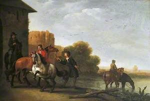 Riders Watering Their Horses
