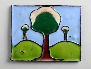 Enamel Plaque with Three Trees