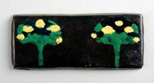 Enamel Plaque with Two Trees