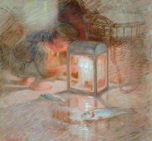 Study of a Boy with Lantern for 'The Mackerel Nets'