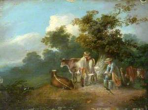 Pastoral Scene with a Milkmaid, Cows and a Youth