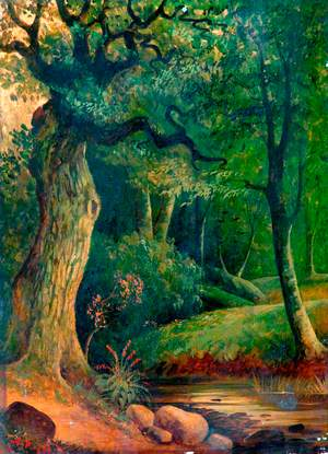 Woodland Scene with Stream