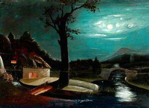 Landscape with Cottage, River and Bridge