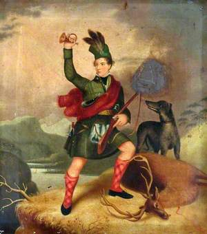 Highland Hunter with a Dog and a Dead Deer