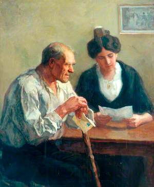 Young Woman Reading a Letter to a Blind Man