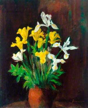 Vase of Flowers, Yellow and White Irises