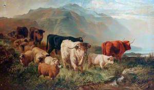 Rocky Landscape with Cattle and Sheep