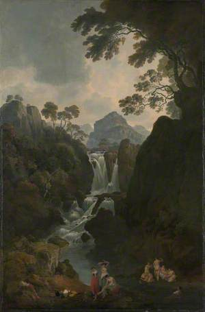 A Waterfall with Bathers
