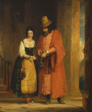 Shylock and Jessica, from the 'Merchant of Venice', Act II, Scene II