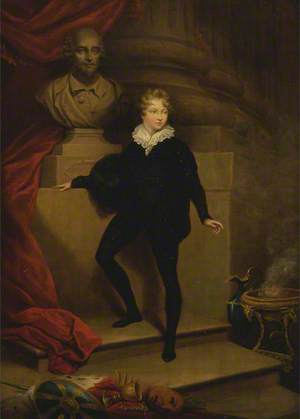 Master Betty as Hamlet, before a Bust of Shakespeare