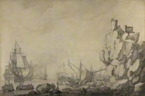 Ships and Militia by a Rocky Shore