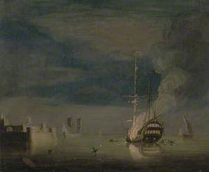 A Two-Decker on Fire at Night off a Fort