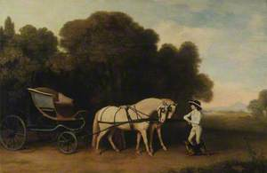 Phaeton with a Pair of Cream Ponies and a Stable Lad