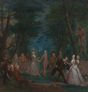 Scene in a Park, with Figures from the Commedia dell'Arte