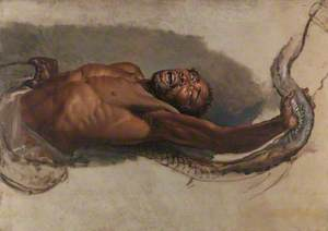 Man Struggling with a Boa Constrictor, Study for 'The Liboya Serpent Seizing His Prey'