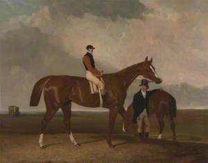 'Elis' at Doncaster, Ridden by John Day, with his Van in the Background