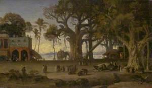 Moonlit Scene of Indian Figures and Elephants among Banyan Trees, Upper India (Probably Lucknow)