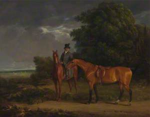 A Groom Mounted on a Chestnut Hunter, He Holds a Bay Hunter by the Reins