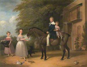 Children with Horse and Dog