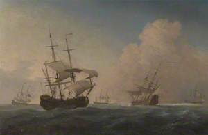 English Warships Heeling in the Breeze Offshore
