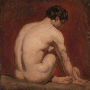Male Nude, Kneeling, from the Back