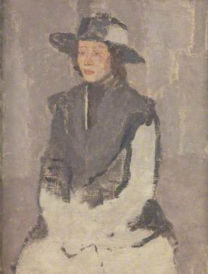 Seated Woman in a Broad-Brimmed Hat