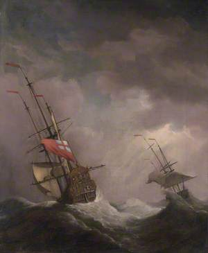 An English Ship at Sea Running in a Gale