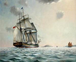 HMS 'Looe' Approaching Looe Island, c.1740