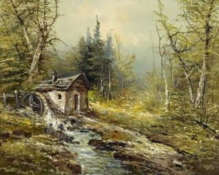 oil on canvas by Josef Kugler Senior (1913–2011)