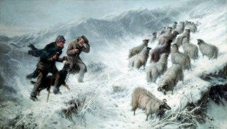 Shepherd and Sheep in Snow