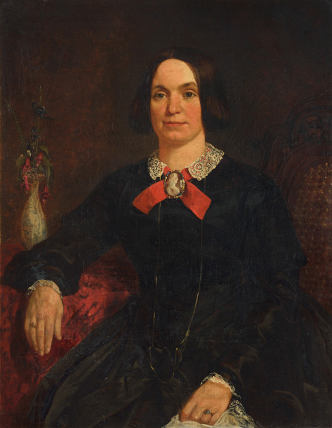 Portrait of a Lady in a Black Dress with a Cameo on a Red Ribbon