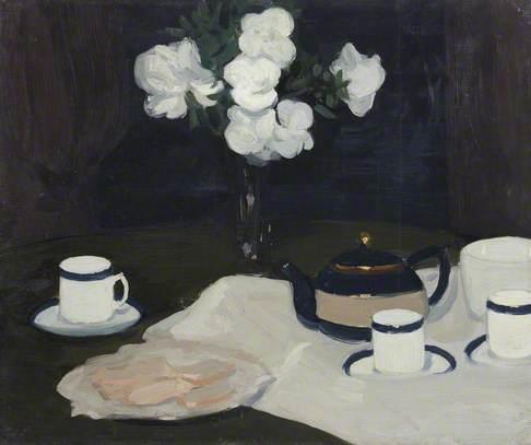 Still Life Tea Service and White Flower