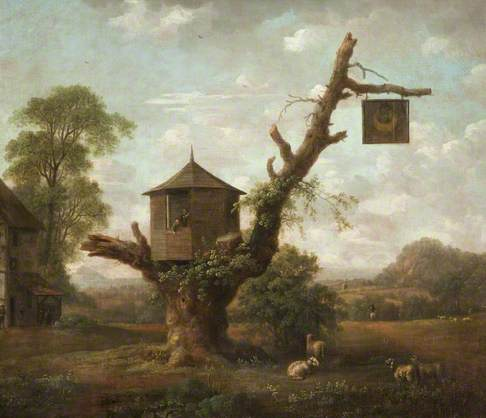 Landscape with Hut in Oak Tree and the 'Man in the Moon' Inn