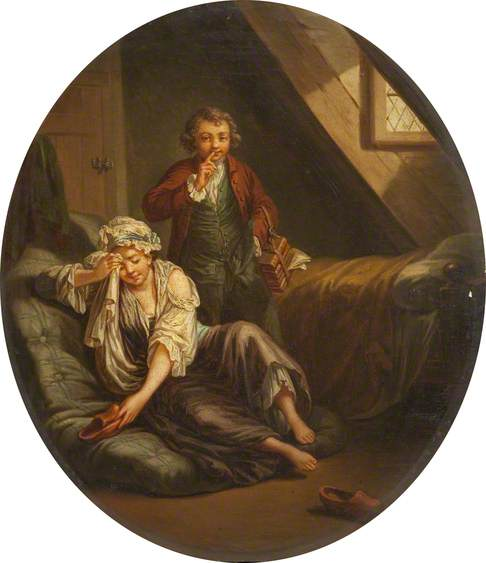 Interior - Chambermaid and Man with Books