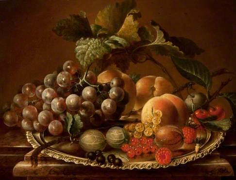 Fruit on a Salver on a Marble Ledge