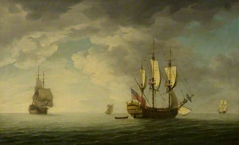 A Man-of-War and Other Vessels at Sea