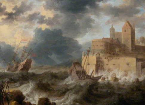 A Vessel Wrecked beneath a Fort in a Storm