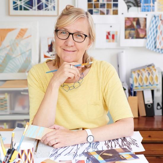 Artist and designer Jo Angell in her studio