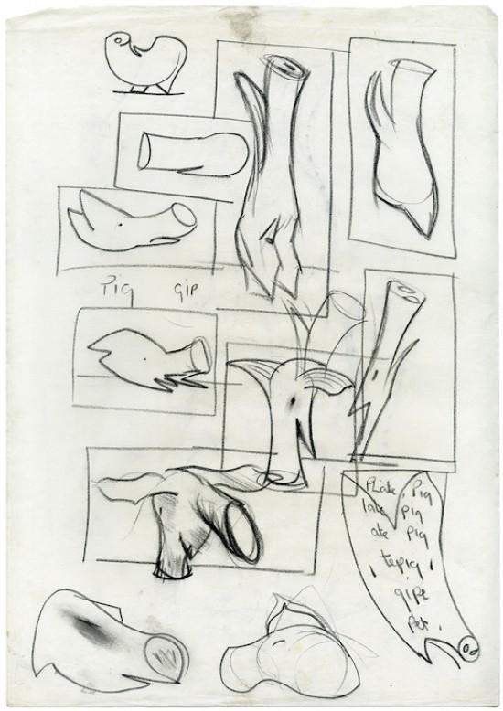 Loose sketchbook page developing pig forms