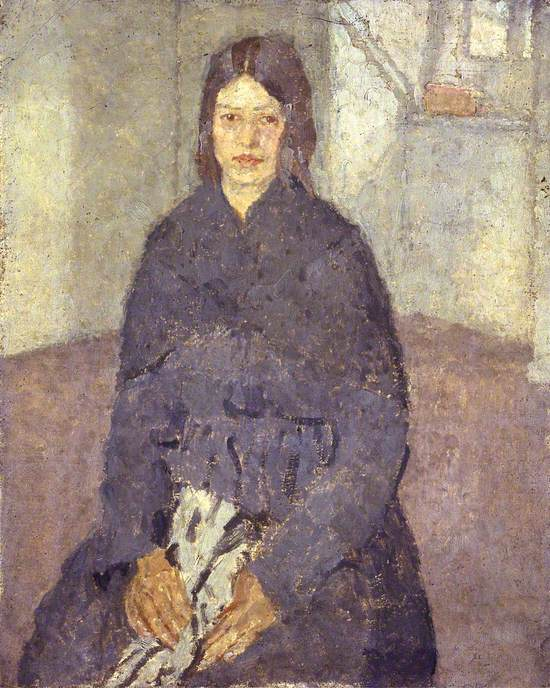 Seated Girl Holding a Piece of Sewing