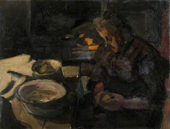 The Artist's Mother Peeling Potatoes