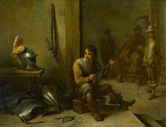 A Soldier Cleaning a Flintlock in a Guardroom, Armour beside him and Soldiers beyond
