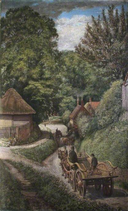 Berkshire Wagon, Newbury Road, Looking towards the Church, East Hendred, Oxfordshire