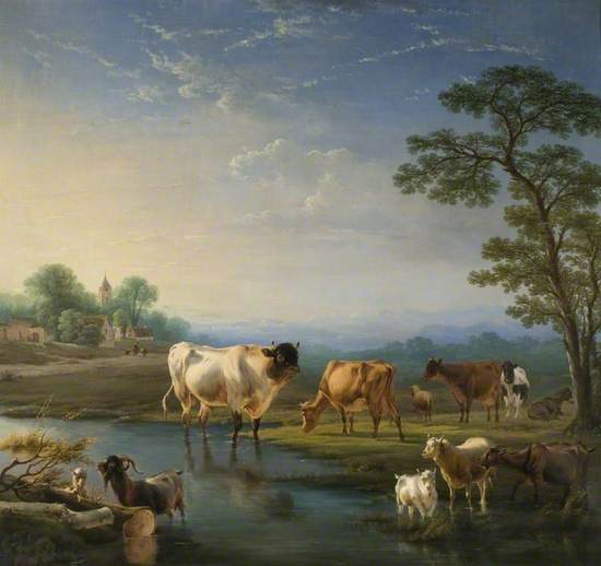 Pastoral Landscape with Cattle and Goats