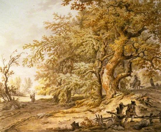 A Woodland Landscape with Three Travellers